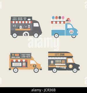 retro food truck, service in carnival festival - Stock Photo