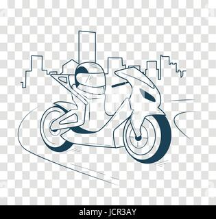 icon motorcycle, motorbike  on the road in the city. Icon in the linear style, black and white silhouette - Stock Photo