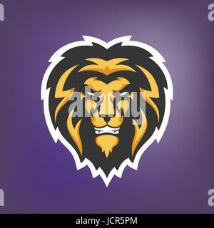 Vector illustration of lion head. Sport mascot. - Stock Photo