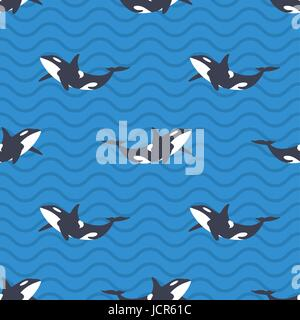 Vector seamless pattern with killer whales or orcas in the sea. Blue background with wavy lines. - Stock Photo