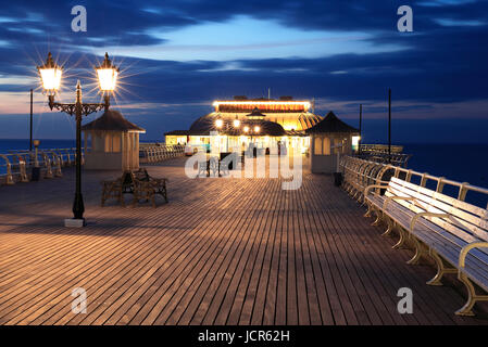 Night on Cromer Pier, North Norfolk, England, Europe - Stock Photo