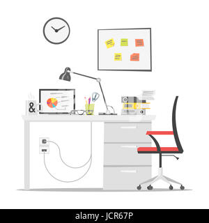Vector flat style illustration of modern workplace. Job concept. Isolated on white background. Icon for web. - Stock Photo
