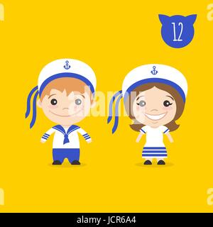 Vector illustration of two happy cute kids characters. Boy and girl in sailors costumes. - Stock Photo