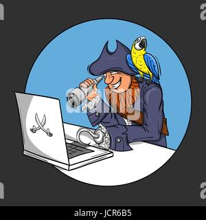 Vector illustration of pirate sitting in front of the computer looking through a Spyglass into the monitor. parrot - Stock Photo