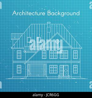 Vector illustration of family house or cottage. Architecture blueprint background. Large private cottage for real - Stock Photo
