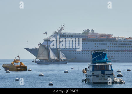 Square Rigged Tall Ship Under Sail, Passes The Cruise Liner, Carnival Inspiration In Avalon Harbor, Catalina Island, - Stock Photo