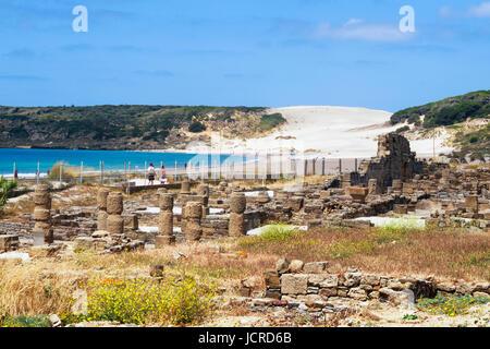 Bolonia, Costa de la Luz, Cadiz Province, Andalusia, southern Spain.  Part of the ruins of the Roman town of Baelo Claudia. Stock Photo