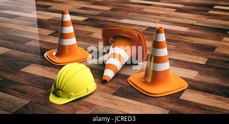 Renovation concept. Traffic cones and hard hat on wooden floor background. 3d illustration - Stock Photo