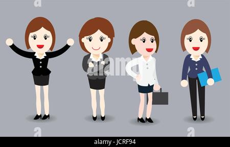 Business woman flat design, Isometric People, 3D business woman in business suits - Vector Illustration - Stock Photo