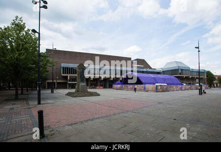 Derby, England, 14th, June, 2001.  General views across the Market Place to the Assembly Rooms in the Cultural Quarter - Stock Photo