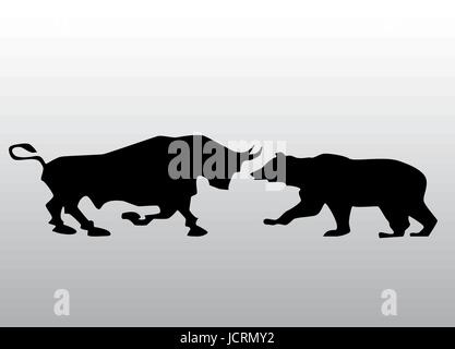Vector black silhouette bull and bear financial icons depicting the market trends - Stock Photo