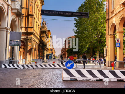 Bologna, Italy - April 22, 2017: Counterterrorism barriers on Bologna's main street on a regular day - Stock Photo