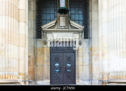 Montreal, Canada - May 26, 2017: UQAM Pavillon Sherbrooke and Technical School in University entrance with pillars - Stock Photo