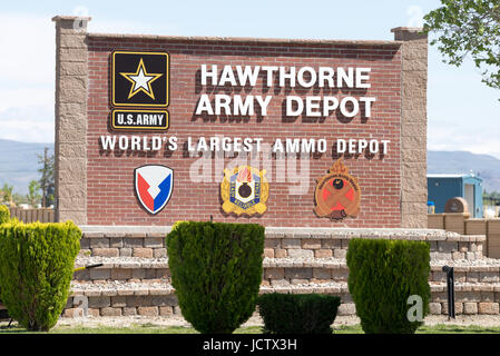 Sign at the entrance of the Hawthorne Army Depot in Nevada. - Stock Photo