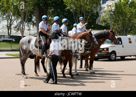 US Park Police Mounted unit at a protest event - Washington, DC USA - Stock Photo