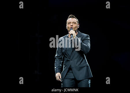 Milan, Italy. 16th June, 2017. The Italian pop singer Tiziano Ferro pictured on stage as he performs at Stadio Giuseppe - Stock Photo