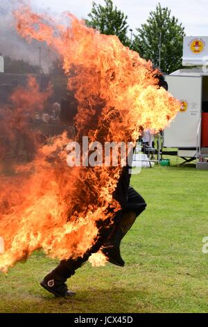 Stunt Mania display at the Banbury & District Show in Spiceball Park, Banbury, UK - Stock Photo