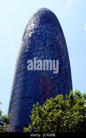 Agbar tower by Jean Nouvel, Barcelona, Catalonia, Spain - Stock Photo