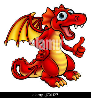 A cute cartoon red dragon character giving a thumbs up - Stock Photo