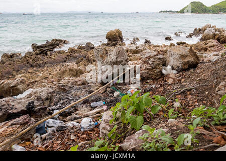 Trash in the ocean washed up on the beach - Stock Photo