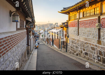 Sunrise with Seoul city skyline in Seoul, South Korea. - Stock Photo