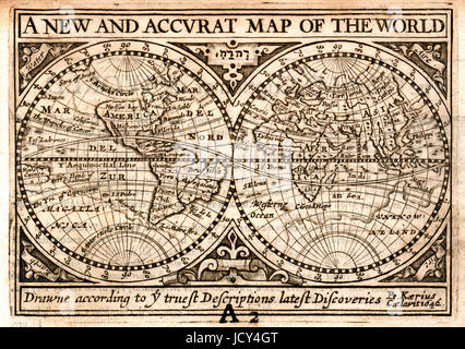 1646 Petrus Kaerius, also know as Peter van der Keere, World Map in Hemisphere originally published in John Speed's - Stock Photo