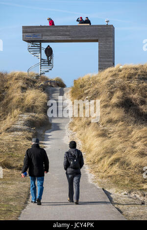North Sea island, Norderney, East Frisia, Germany, beach observation tower in the dunes, - Stock Photo