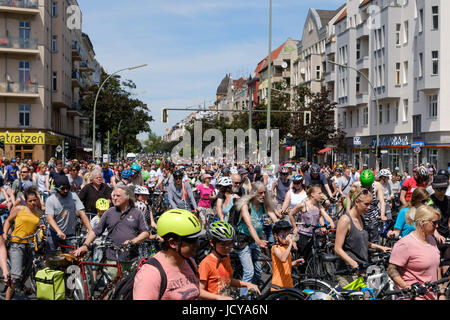 Berlin, Germany - june 11, 217: Many people on bicycles on a bicycle demonstration (Sternfahrt) in Berlin, Germany. - Stock Photo