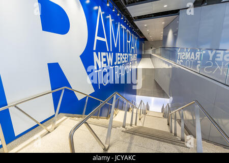 New York City, NY - June 15, 2017: Newly opened Penn Station renovation below the James A. Farley Post Office, Manhattan, - Stock Photo