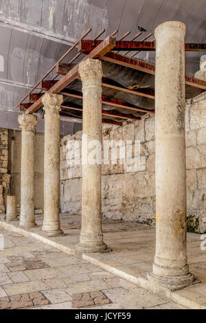 The Cardo excavation reconstruction of the main street from Byzantine era in the Old City of Jerusalem, Israel. - Stock Photo