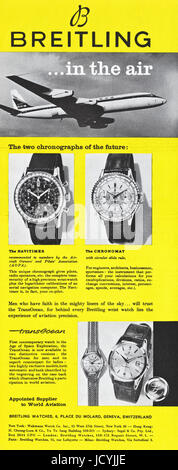 1960s advertisement advertising Breitling Watches in American magazine dated 5th December 1960 - Stock Photo