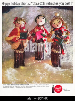 1960s advertisement advertising Coca-Cola at Christmas in International edition of American magazine dated 5th December - Stock Photo