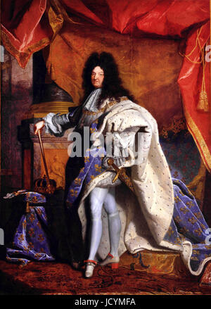 Hyacinthe Rigaud, Louis XIV, King of France (1638-1715). 1702 Oil on canvas. Palace of Versailles, France. - Stock Photo