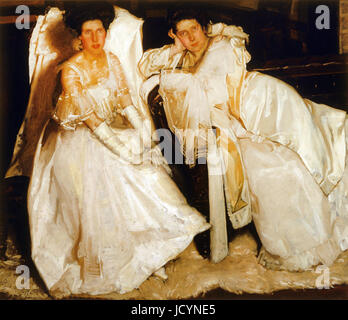 Hugh Ramsay, The Sisters 1904 Oil on canvas. Art Gallery of New South Wales, Sydney, Australia. - Stock Photo