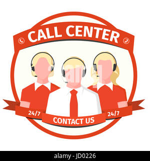 Emblem call center - men and women with headset. Operators of the hotline in flat style. Icon with male and female - Stock Photo