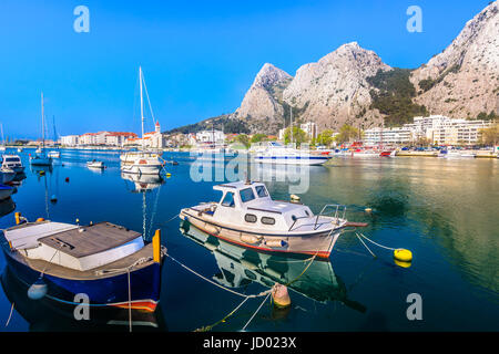 Waterfront view at Cetina river scenery in Omis town, Croatia. - Stock Photo