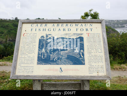 Fishguard fort information point - Stock Photo