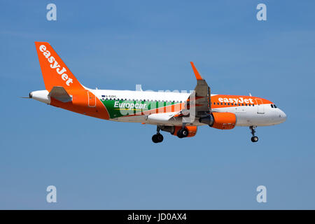 EasyJet Airline Airbus A320-214 [G-EZPC] with a special color scheme promoting Europcar. - Stock Photo