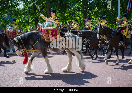 LONDON, UK - JUNE 17, 2017: Mounted military band parade in formation down The Mall in a royal Trooping the Colour - Stock Photo