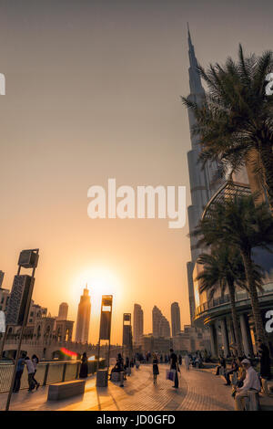 UAE/DUBAI - 14 SEP 2012 - People relaxing on the streets of dubai with sunset