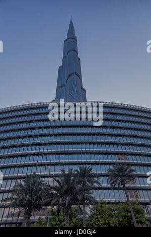 UAE/DUBAI - 14 SEP 2012 - View from below of the great burj khalifa building - Stock Photo