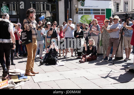 Cardiff, UK. 17th JUne, 2017. Campaigners gather under the Aneurin Bevan statue in Cardiff city centre to demand - Stock Photo