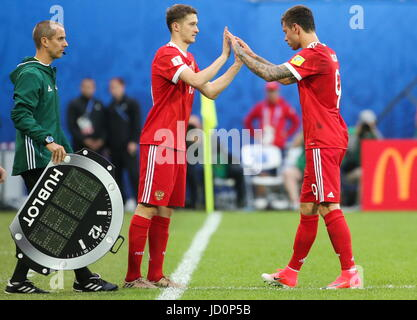 St Petersburg, Russia. 17th June, 2017. Russia's Fyodor Smolov (L) and Alexei Miranchuk seen during their 2017 FIFA - Stock Photo