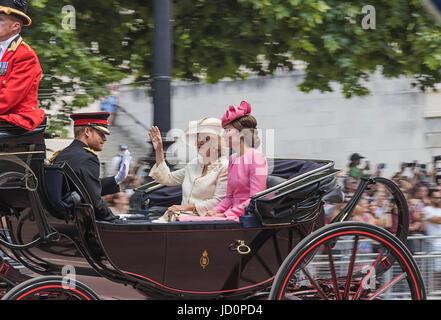 London, UK. 17th June, 2017. Prince Harry, Catherine, Duchess of Cambridge & Camilla, Duchess of Cornwall at the - Stock Photo