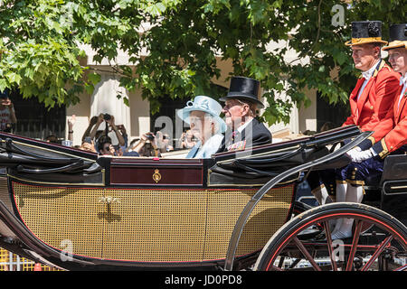London, UK. 17th June, 2017. Queen Elizabeth II & Prince Philip, Duke of Edinburgh at the Trooping the Colour Parade - Stock Photo