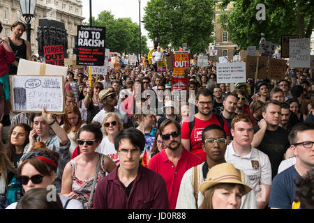 London, UK. 17th June, 2017. Pro-Labour demonstrators gather on Whitehall outside Downing Street in central London - Stock Photo