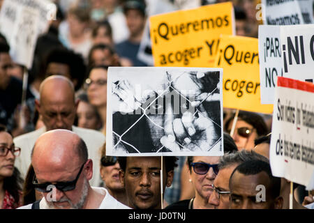 Madrid, Spain. 17th June, 2017. People demanding to welcome refugees during a demonstration against immigration - Stock Photo