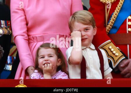 London, UK. 17th June, 2017. HM Queen Elizabeth II, Prince Philip, Duke of Edinburgh, Kate (Catherine Middleton) - Stock Photo