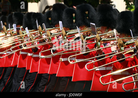 London, UK. 17th June, 2017. The brass band of the Welsh Guard after the Trooping of the Colour 2017. Trooping the - Stock Photo