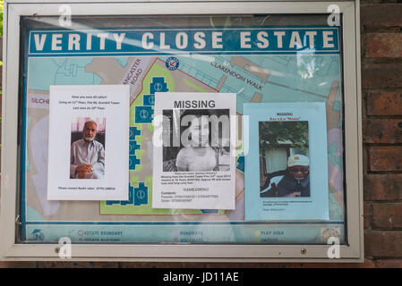 June 17, 2017 - London, UK - London, UK. 17th June 2017. Posters on lamp posts, walls and noticeboards display the - Stock Photo